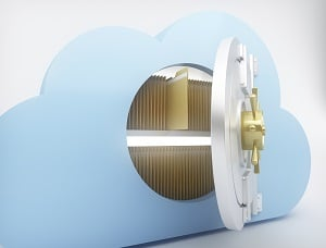 Image description: A slightly open vault with cloud detailing reveals a series of manila folders within the vault.