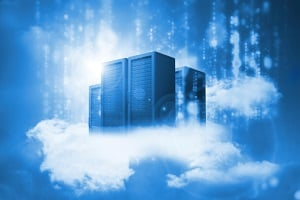 Artistic photo portraying data centers housed in a literal cloud.