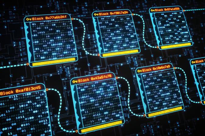 Image description: Technology imagery depicting blockchain
