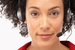 This is a picture of a woman wearing a headset device.