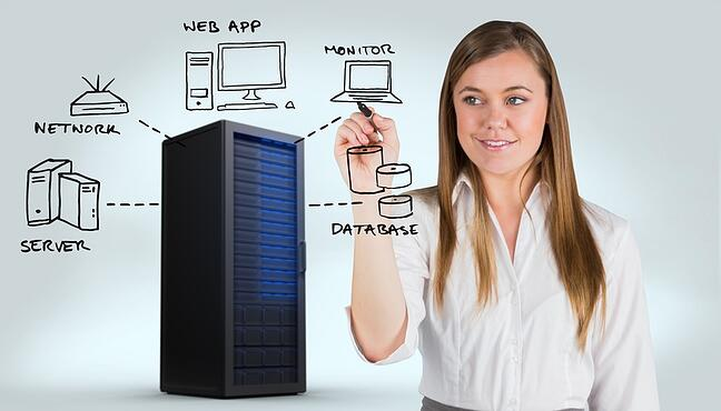 Young adult woman with a data tower drawing server, network, web app, monitor and data base images
