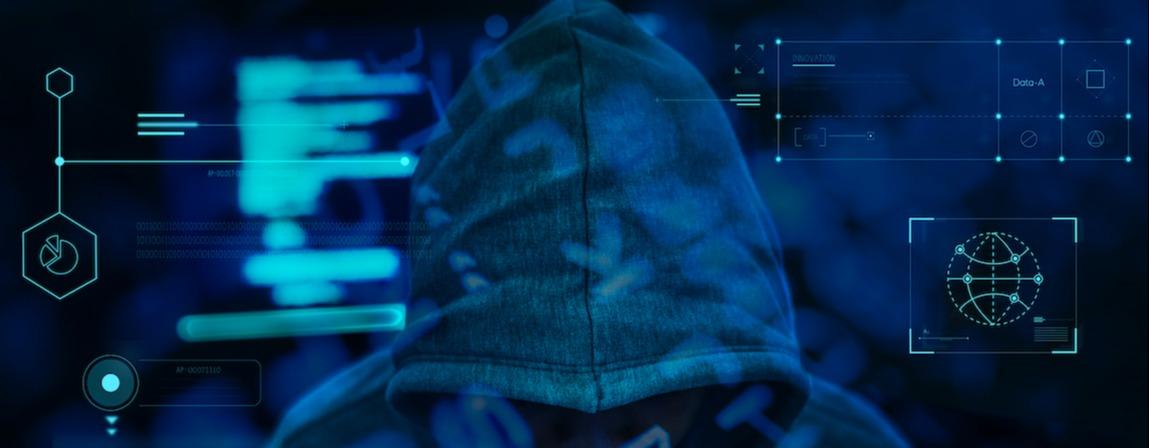 business fraudster working in darkness