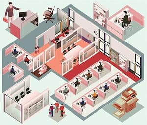 graphic image of a workplace layout